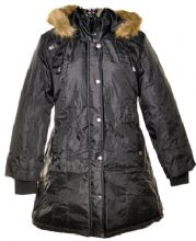 Ladies Plus Size Black Coat with Fur Trim Hood